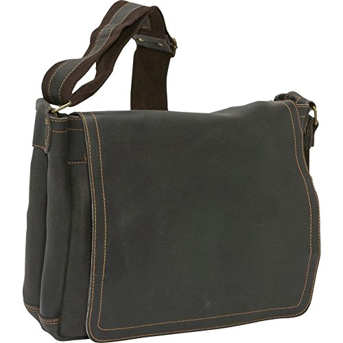 David King Distressed North/South Leather Messenger Bag in Distressed Black (King Distressed David Leather)