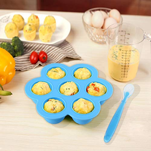 Pressure Cooker Accessories with Silicone Egg Bites Molds and Steamer Rack Trivet with Heat Resistant Handles for Instant Pot Accessories 6 Qt 8 Quart, 3 Pcs with 2 Bonus Spoons (Blue & Purple) by Sugaroom (Image #2)