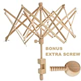 Wooden Umbrella Swift Yarn Winder Holder with Replacement Screw, Adjustable Yarn Swift,Medium