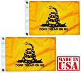 "US Flag Factory (2 Pack) 12″x18″ Gadsden ""DON'T TREAD ON ME"" Flag – Outdoor SolarMax Nylon Flag – 100% Made in America (2)"