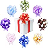 """HipGirl 9pc 7"""" Large Pull Bows for Christmas, Birthday, Baby Shower, Wedding, Holiday decoration, Party Gift Wrap - Set of 9 (Red, Green, Lilac, Purple, Chocolate, Light Blue, Gold, Blue, Pink)"""
