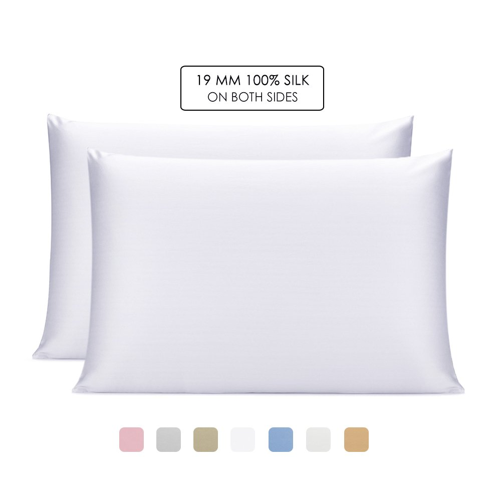 OLESILK 100% Mulbery Silk Pillowcase 2 Pack with Hidden Zipper for Hair and Skin Beauty,Both Sides 19mm Charmeuse - White, Queen