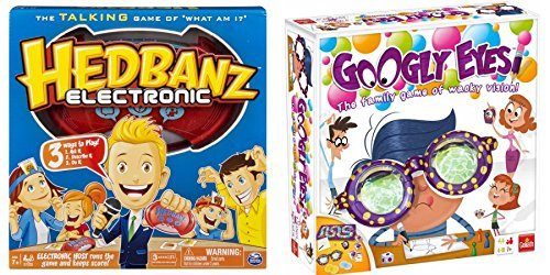 Googly Eyes Family Drawing Board Game With Spin Master Hedbanz Electronic (Tiny Monsters Halloween Challenge)