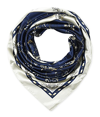 corciova Women's Large Satin Square Silk Feeling Hair Scarf 35 x 35 flowers chains navy
