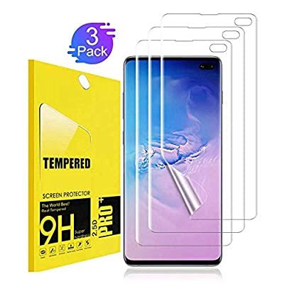 [3 Pack] Screen Protector for Samsung Galaxy S10 Plus / S10+ TEIROO[Bubble-Free] [Case Friendly] [New Vesion] HD Clear Flexible Film with Lifetime Replacement Warranty