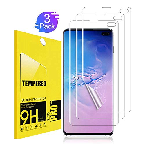[3 Pack] Screen Protector for Samsung Galaxy S10 Plus / S10+ TEIROO[Bubble-Free] [Case Friendly] [New Vesion] HD Clear Flexible Film with Lifetime Replacement Warranty ()