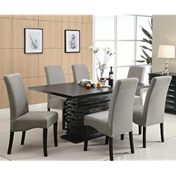 Stanton Contemporary 7 Pc Black And Gray Dining Table Set By Coaster Great Ideas