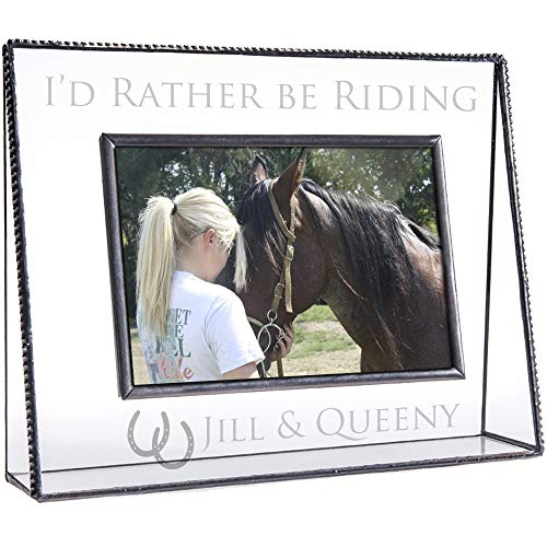 J Devlin Pic 319-46H EP596 Personalized Horse Picture Frame Engraved Clear Glass Tabletop 4 x 6 Horizontal Engraved Photo Keepsake