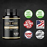 Organic Lions Mane Mushroom Capsules - Max Dosage + Absorption Enhance - Nootropic Brain Supplement and Immune Support