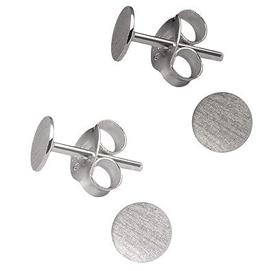 badb7f0ad9d717 2 Paar kleine flache runde 925 Silber Ohrstecker Ohrringe matt 4mm Grau  Schwarz (4 Stück