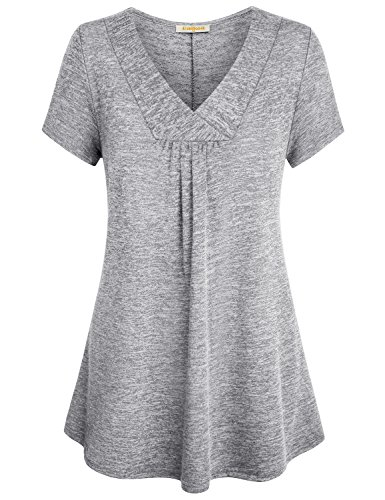 Gathered Bust Top (Baikea Long Tunic Shirts For Leggings, Women Short Sleeve Stylish Cross V Neck Tops A Line Maternity Jersey Gathered Knit Soft Baggy Flowy Pleated Tunic Blouse For Work Light Grey XXL)