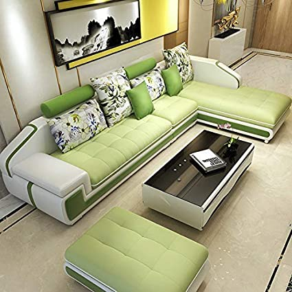 Peachy Quality Assure Furniture Hardwood Roland Sectional Leather Sofa Set With 1 Puffy Pear Green And White Machost Co Dining Chair Design Ideas Machostcouk