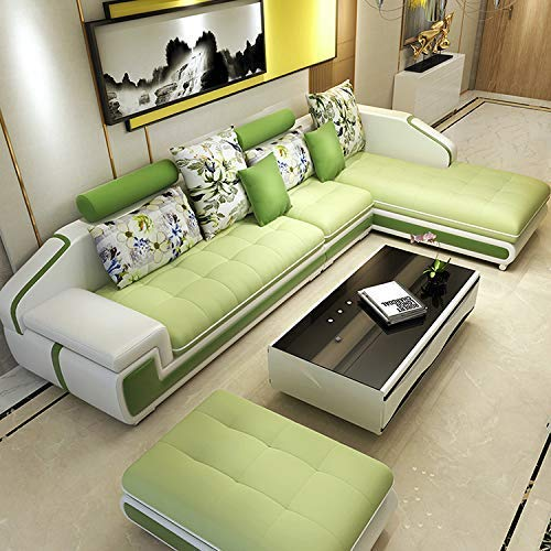 Quality Assure Furniture Hardwood Roland Sectional Leather Sofa Set with 1  Puffy (Pear Green and White)