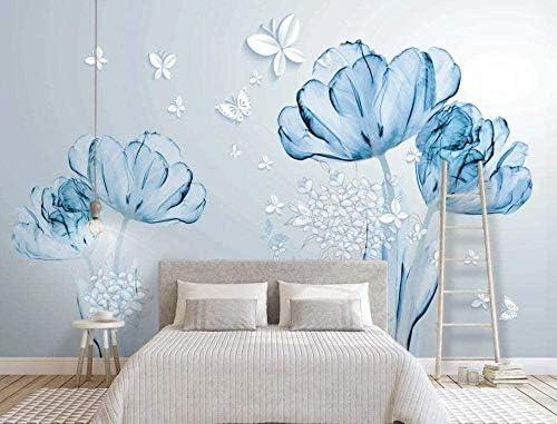 Hxcok 壁紙3D壁画ホームリビングルームの寝室とテレビの背景の装飾的な壁紙のための美しい青い花蝶-420X260CM