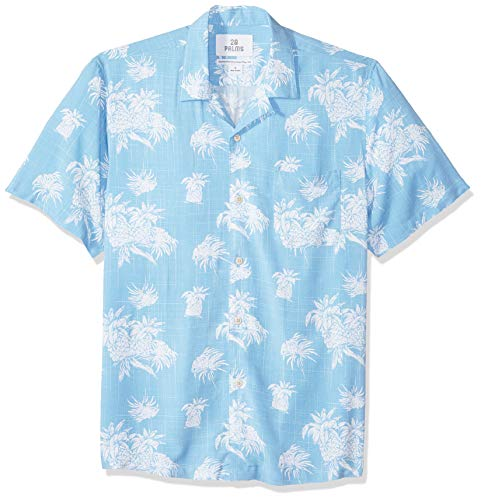 (28 Palms Men's Standard-Fit Vintage Washed 100% Rayon Tropical Hawaiian Shirt, Blue/White Palm Tree, Medium)