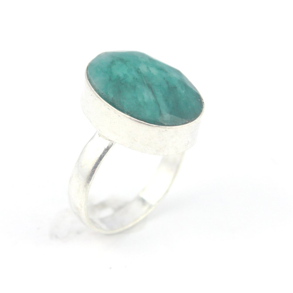 EMERALD FASHION JEWELRY .925 SILVER PLATED RING 9 S23953