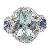7.41 Carat Natural Blue Aquamarine, Blue Sapphire and Diamond (F-G Color, VS1-VS2 Clarity) 14K White Gold Cocktail Ring for Women Exclusively Handcrafted in USA
