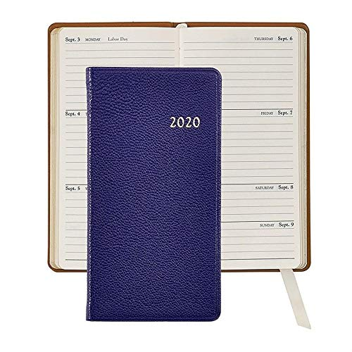 2020 Brights Indigo-Blue 6-inch Pocket Datebook in Fine Leather by Graphic ImageTM - 3x6 by Graphic Image