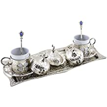 Clover Design Brass Premium Turkish Greek Arabic Coffee Espresso Serving Set for 2,Cups Saucers Lids Tray Delight Sugar Dish 11pc (Silver) by BOSPHORUS by BOSPHORUS