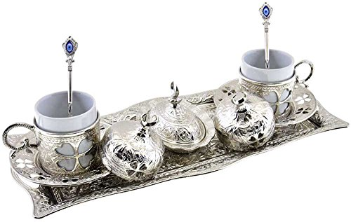 Clover Design Brass Premium Turkish Greek Arabic Coffee Espresso Serving Set for 2,Cups Saucers Lids Tray Delight Sugar Dish 11pc (Silver) (Arabic Dishes Set)