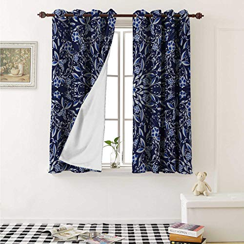 Dark Blue Customized Curtains Chinese Painting Style Artwork Traditional Floral Interlace Print Curtains for Kitchen Windows W63 x L45 Inch Dark Blue Royal Blue White ()