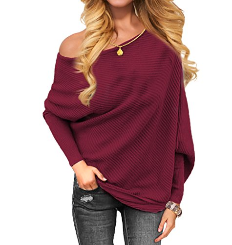 Pullover Burgundy Sweater - VOIANLIMO Women's Off Shoulder Knit Jumper Long Sleeve Pullover Baggy Solid Sweater Burgundy M