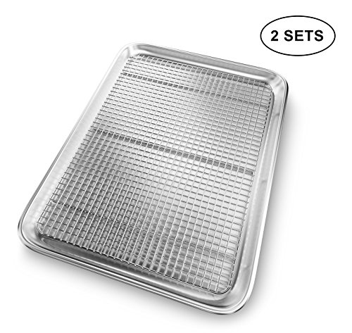Insulated Jelly Roll (Premium Baking Cookie Sheet Pan with Cooling Rack - Oven Safe (Set of 2))