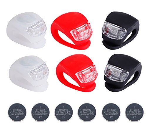 Deruicent 6pcs/Set Bicycle Lights Super Frog Silicone LED Bike Light Multi-Purpose Water Resistant Headlight (Red + White + Black + Battery)