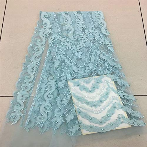 Laliva French Nigerian Laces Fabrics Tulle African Laces Fabric Wedding African French Tulle Lace RF50w - (Color: as picture1)