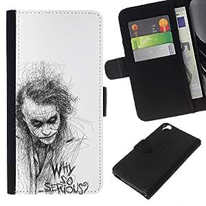 A-type (So Serious Sketch Movie Character) Colorida Impresión Funda Cuero Monedero Caja Bolsa Cubierta Caja Piel Card Slots Para HTC Desire 820