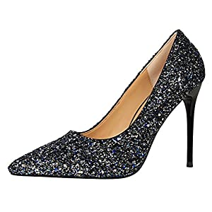 T&Mates Womens Fashion Glitter Sequins Bling Pointy Stiletto High Heel Dress Party Dressy Pumps Shoes (5.5 B(M)US,Blue)