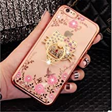iphone 6 Plus TPU Case,Secret Garden Butterfly Floral Bling Swarovski Rhinestone Diamond Cute Kitty 360 Rotating Ring Kickstand Holder for Apple iphone 6/6S Plus 5.5inch(Rose Gold-Pink Flower)