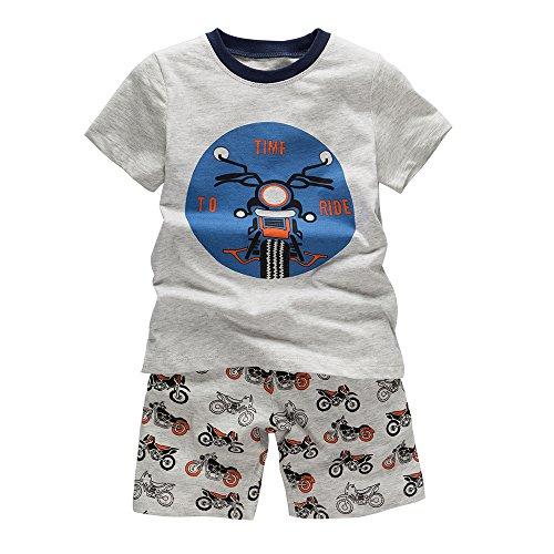 Toddler Short Sleeve Pajamas B.GKAKA The Moto on The Way Big Clothes Boys Short Sleepwear for Kids (8 (Sleep Boyshorts)