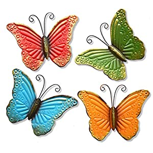 GIFTME 5 Metal Butterfly Wall Art Decor Set of 4 Colorful Garden Outdoor Wall Sculptures