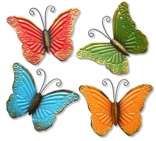 GIFTME 5 Metal Butterfly Wall Art Decor Set of 4 Colorful Garden Wall Sculptures from GIFTME 5