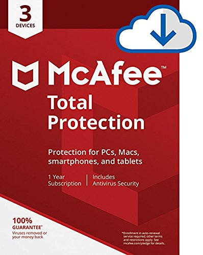McAfee Total Protection|Antivirus| Internet Security| 3 Device| 1 Year Subscription| PC/Mac Download|2019 Ready (Best Service Provider For Iphone)