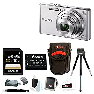 Sony DSCW830 DSCW830 W830 20.1 Digital Camera with 2.7-Inch LCD (Silver) + Medium Case + Focus Universal Memory Card Reader + Focus 5 Piece Deluxe Cleaning and Care Kit + Accessory Kit