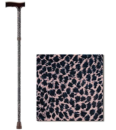 NOVA Folding Walking Cane with Wood Grip Handle, Foldable and Adjustable Travel Cane with Wood Comfort Handle, Leopard
