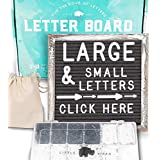 Letter Board 10x10 Rustic Gray | +690 PRE-Cut Letters +Stand +Sorting Tray | Farmhouse Felt Letterboard with Cursive Words, Letter Boards, Word Board, Message Board, Changeable Sign