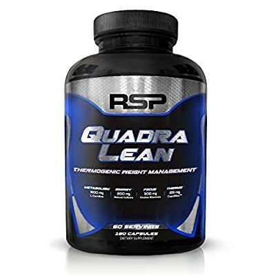 RSP QuadraLean Thermogenic Fat Burner for Men & Women, Weight Loss Supplement, Crash-Free Energy, Metabolism Booster & Appetite Suppressant, Diet Pills, 60 Servings