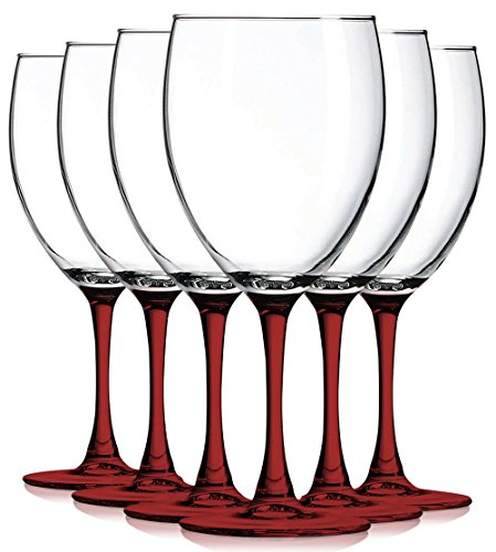 Red Nuance Accent Stem 10 oz Wine Glasses - Set of 6 by TableTop King - Additional Vibrant Colors Available