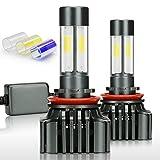 Zdatt 12000LM H11 LED Headlight Bulbs Super Bright 100W H8 H9 Fog Lights Conversion Kits 360 Degree(4 Sides) Lighting Lamps for Car Light Replacement-3000K Yellow/6000K Cool White/8000K Blue(2 Pack)