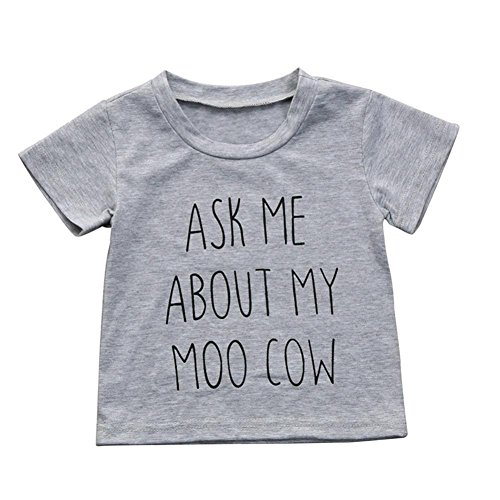 Moo Little Cow (Kehen- Kids Toddler Baby Boys Girls Ask Me About My Moo Cow Letter Print Gray T-Shirt Tops (Gray, 2T))