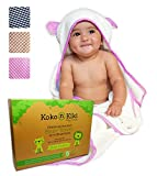 Baby Hooded Towel Washcloth Set - Thick Large White Bamboo Cotton Towel with Hood