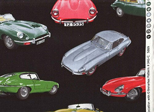 Man Cave British Sports Car Fabric ~ KANVAS Studio Fabric ~ Jaguar XK-E Print Fabric ~ HALF YARD ~ Patt: #JAG-C 5889 ~ Jaguar Roadster, Jaguar Coupe Print Quilt Fabric 100% Cotton 45