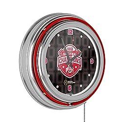 Trademark Gameroom Ohio State University National Champions Chrome Neon Clock, Fade
