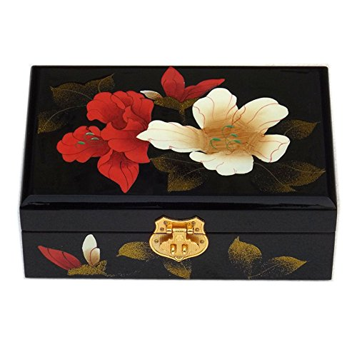 Lanburch Chinese Style Two-Layer Wooden Jewelry Box Organizer Display Storage Case Treasure Chest Case Lock, Black Hibiscus -