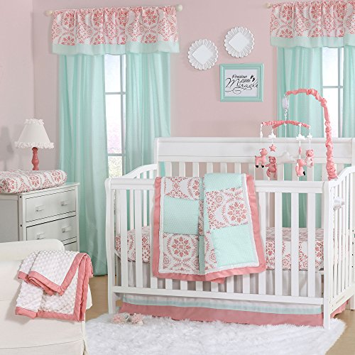 Mint Green and Coral Patchwork 4 Piece Baby Crib Bedding Set by The Peanut Shell (Sage Pink 4 Crib Piece)