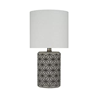 """Amazon Brand – Rivet Cement-Textured Table Lamp, Bulb Included, 16.5""""H, Dark Gray on Gray"""