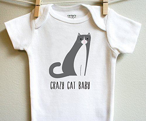 Crazy Cat Boy Girl Baby Clothes Bodysuit One Piece, Short Long Sleeve, Sizes Newborn 3 6 9 12 18 24 Months